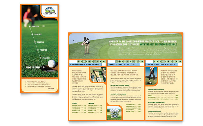 Golf Instructor & Course Brochure Template Design Download - InDesign, Illustrator, Word, Publisher, Pages