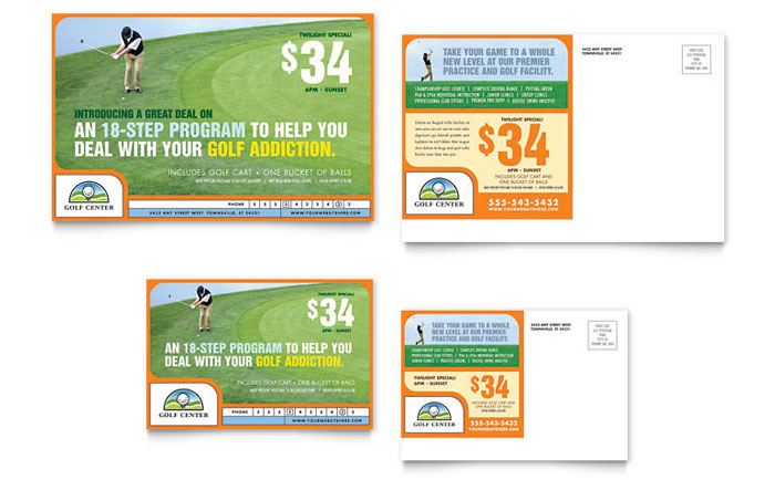 Golf Instructor & Course Postcard Template Design Download - InDesign, Illustrator, Word, Publisher, Pages