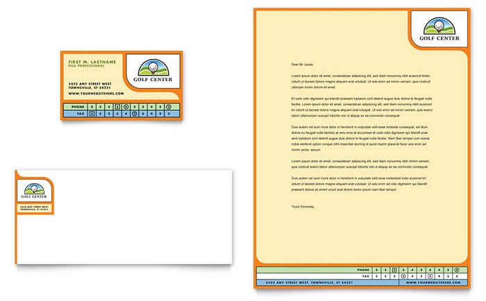 Golf Instructor & Course Business Card & Letterhead Template Design Download - InDesign, Illustrator, Word, Publisher, Pages