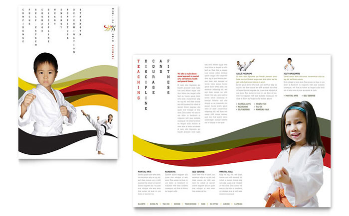 karate  u0026 martial arts brochure template design
