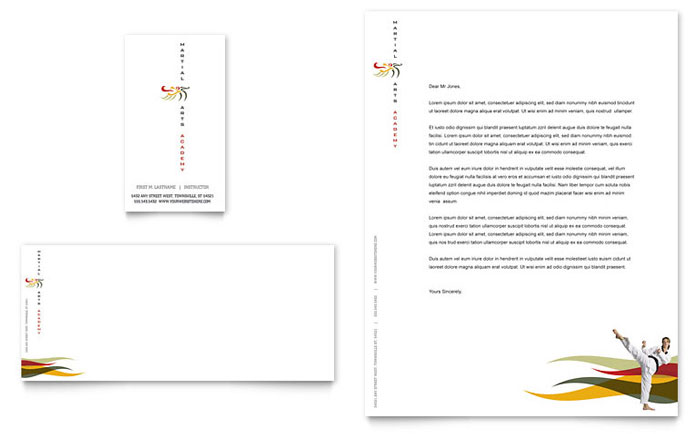 Karate & Martial Arts Business Card & Letterhead Template Design Download - InDesign, Illustrator, Word, Publisher, Pages
