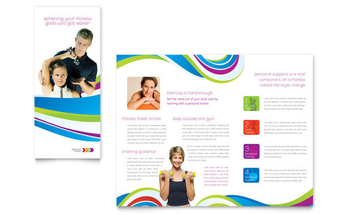Personal trainer brochure template design for Education brochure templates