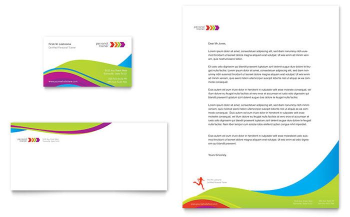 Personal Trainer Business Card  Letterhead Template Design