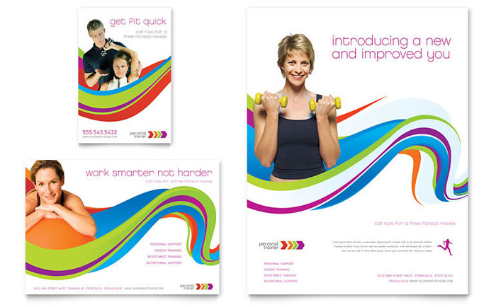 personal brochure templates - personal trainer flyer ad template design