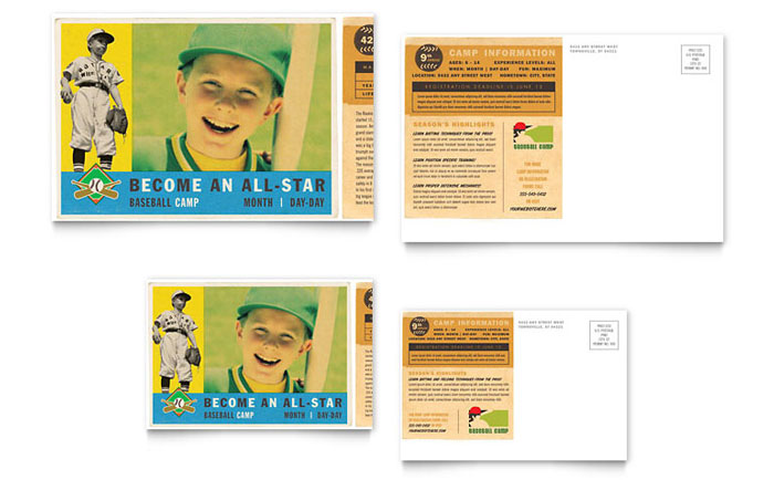Baseball Sports Camp Postcard Template Download - InDesign, Illustrator, Word, Publisher, Pages