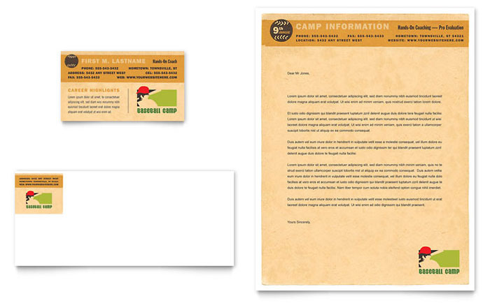 Baseball Sports Camp Business Card & Letterhead Template Design Download - InDesign, Illustrator, Word, Publisher, Pages
