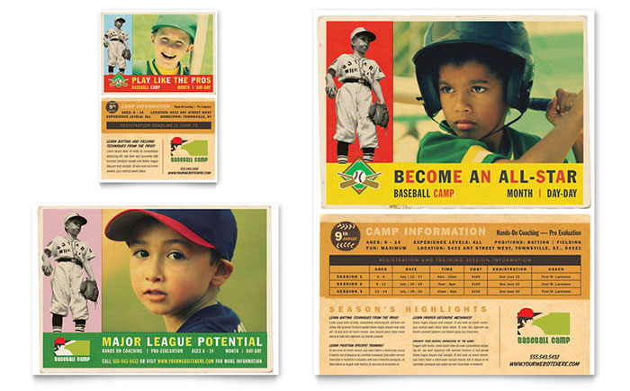 Baseball Sports Camp Flyer & Ad Template Design Download - InDesign, Illustrator, Word, Publisher, Pages