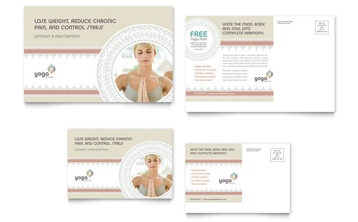 Pilates & Yoga Postcard Template Design Download - InDesign, Illustrator, Word, Publisher, Pages