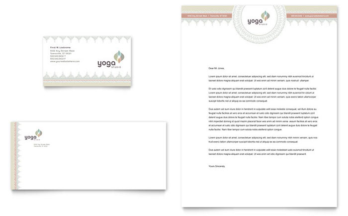 Pilates & Yoga Business Card & Letterhead Template Design Download - InDesign, Illustrator, Word, Publisher, Pages