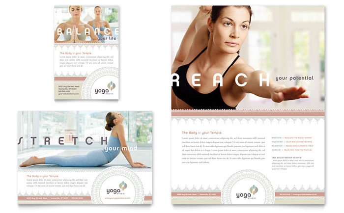 pilates yoga flyer ad template design