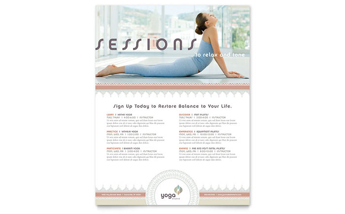 pilates  u0026 yoga class flyer template design