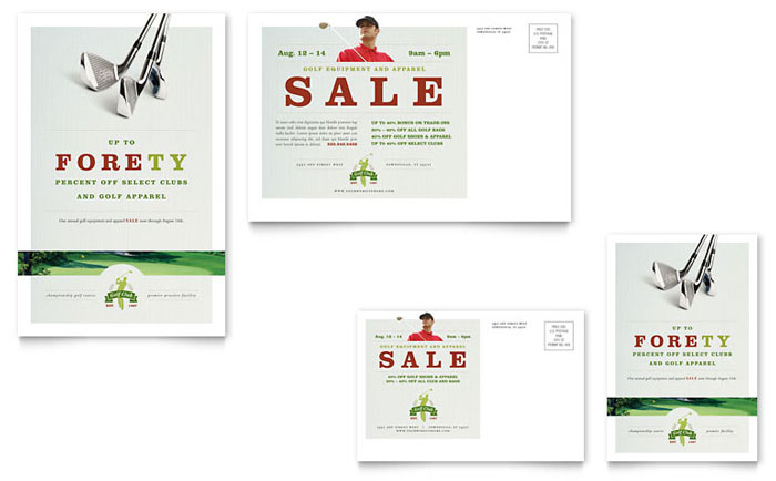 Golf Course & Instruction Postcard Template Design
