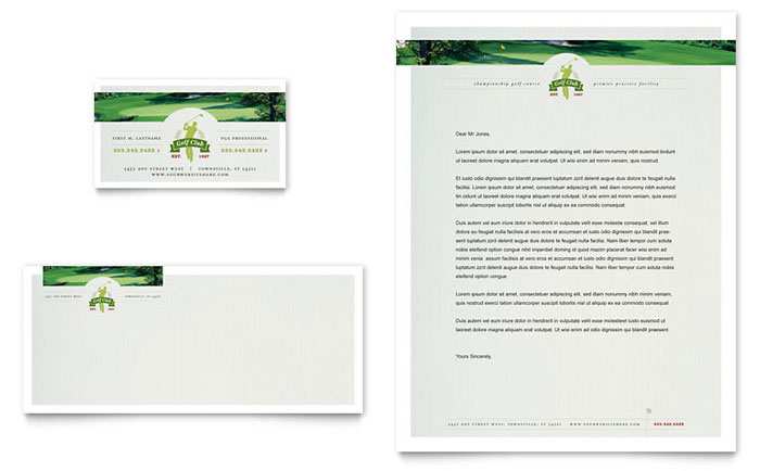 Golf Course & Instruction Business Card & Letterhead Template Design Download - InDesign, Illustrator, Word, Publisher, Pages