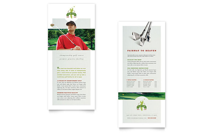 Golf Course  Instruction Rack Card Template Design