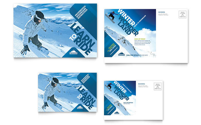 Ski & Snowboard Instructor Postcard Template Design Download - InDesign, Illustrator, Word, Publisher, Pages
