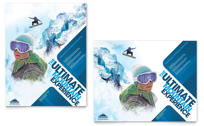 Ski & Snowboard Instructor Poster Template Design Download - InDesign, Illustrator, Word, Publisher, Pages