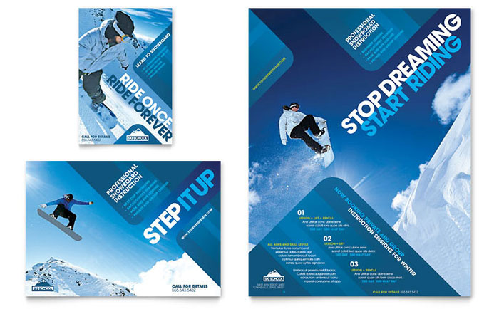 Ski snowboard instructor flyer ad template design for Designhotel ski