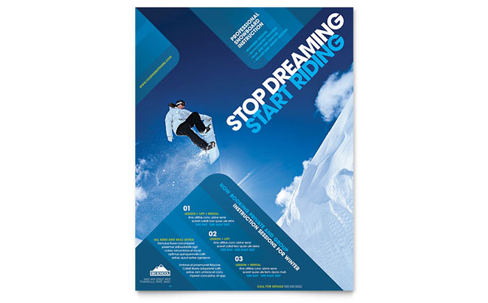 ski  u0026 snowboard instructor flyer template design