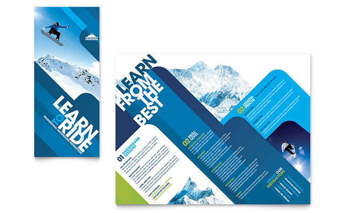 ski snowboard instructor tri fold brochure template