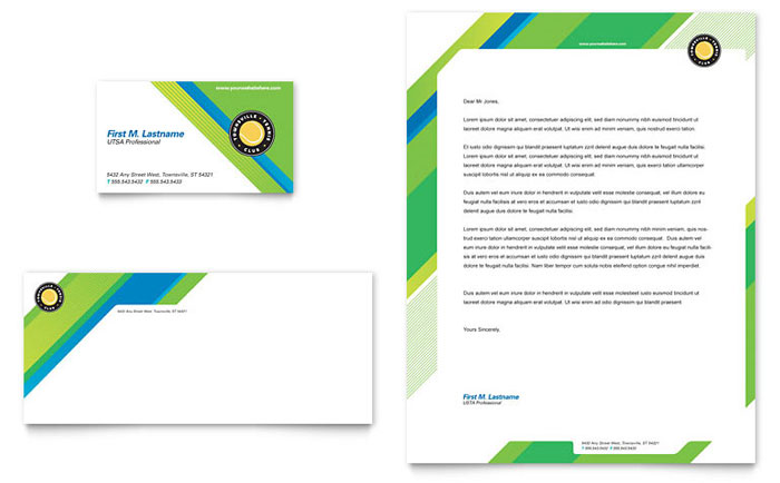 Tennis Club & Camp Business Card & Letterhead Template Design Download - InDesign, Illustrator, Word, Publisher, Pages