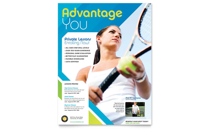Tennis Club & Camp Flyer Template Design Download - InDesign, Illustrator, Word, Publisher, Pages