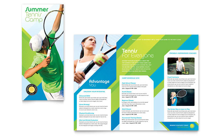 Tennis Club & Camp Tri Fold Brochure Template Design Download - InDesign, Illustrator, Word, Publisher, Pages