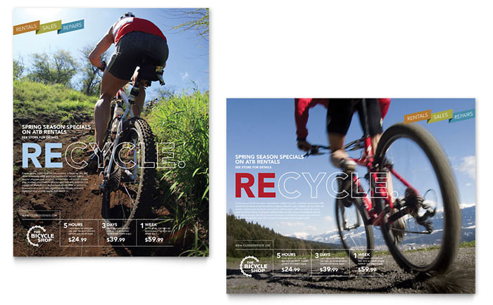 Bike Rentals & Mountain Biking Poster Template Design Download - InDesign, Illustrator, Word, Publisher, Pages