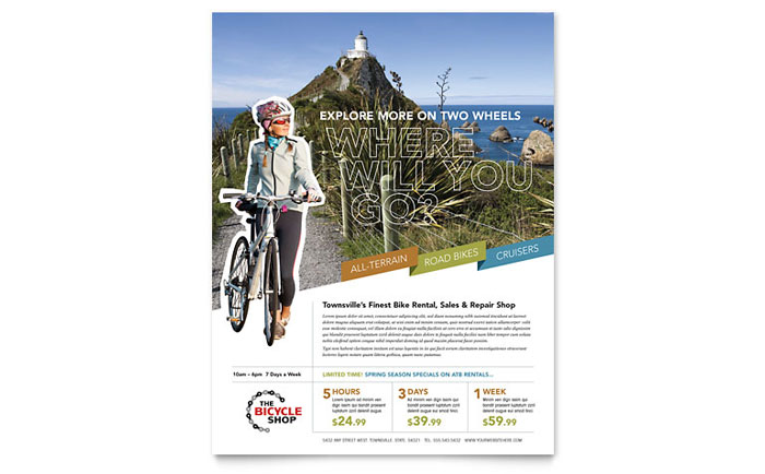 Bike Rentals & Mountain Biking Flyer Template Design Download - InDesign, Illustrator, Word, Publisher, Pages