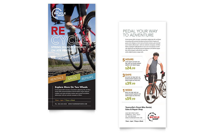 Bike Rentals & Mountain Biking Rack Card Template Design Download - InDesign, Illustrator, Word, Publisher, Pages