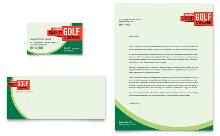 Golf tournament business card letterhead template design reheart Images
