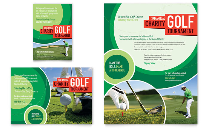 Golf tournament flyer ad template design for Ad designs