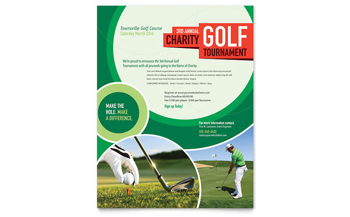 Golf Certificate Template Free Golf Tournament Flyer Template Design