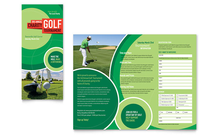 Golf tournament tri fold brochure template design for Tri fold brochure word template