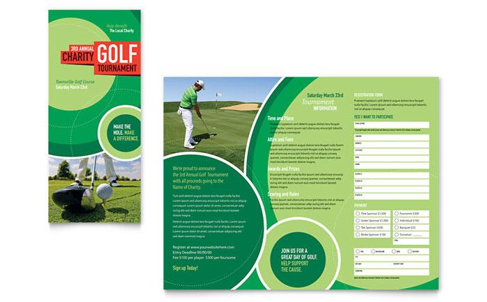 Golf Tournament Tri Fold Brochure Template Design
