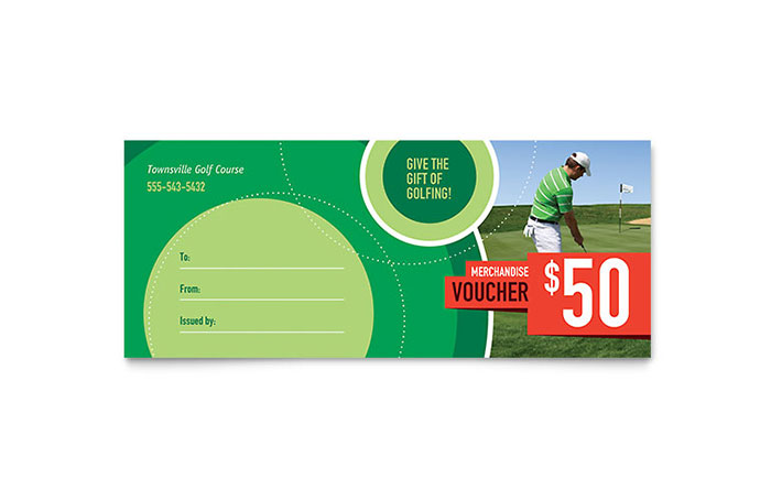 Golf Tournament Gift Certificate Template Design