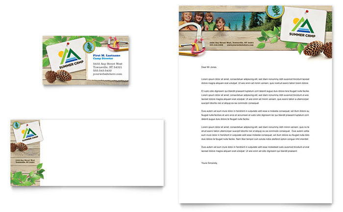 Kids Summer Camp Business Card & Letterhead Template Design - InDesign, Illustrator, Word, Publisher, Pages