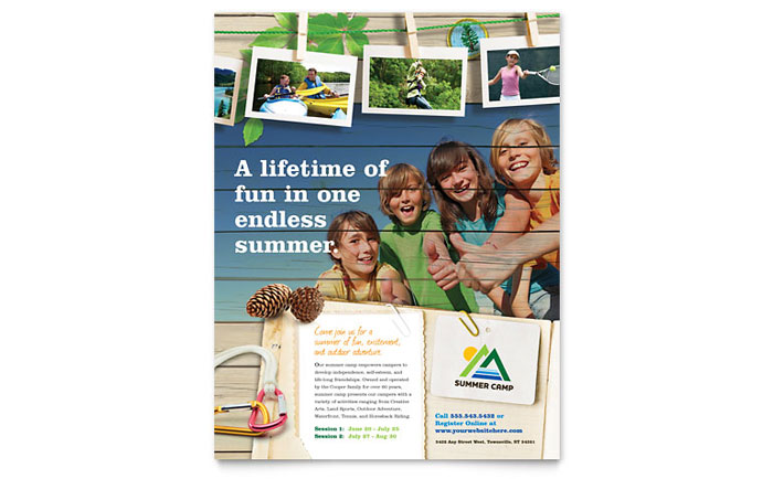 Kids Summer Camp Flyer Template Design - Summer camp brochure template