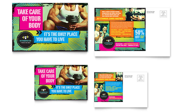 Strength Training Postcard Template Download - InDesign, Illustrator, Word, Publisher, Pages