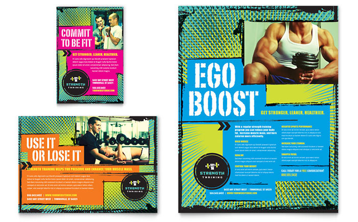 advertising brochure templates - strength training flyer ad template design