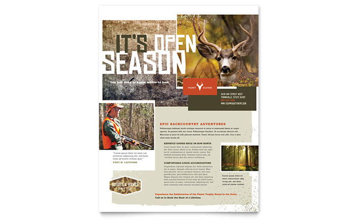 Hunting Guide Flyer Template Design - InDesign, Illustrator, Word, Publisher, Pages