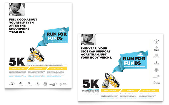 Charity Run Poster Template Design - InDesign, Illustrator, Word, Publisher, Pages