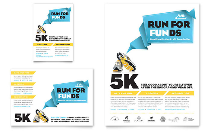 charity run flyer ad template