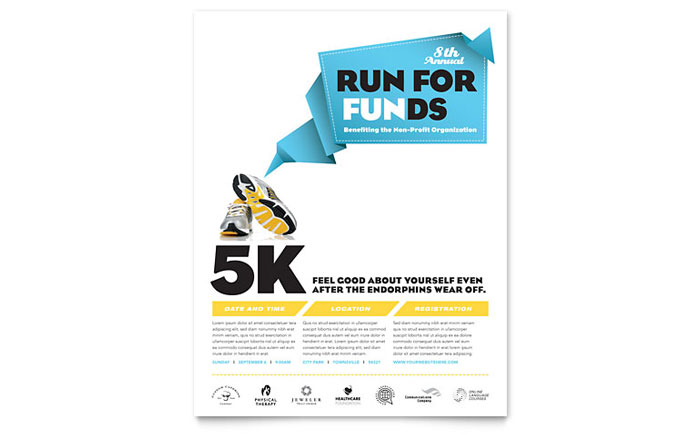 charity run flyer template design