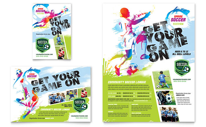 youth soccer flyer ad template design