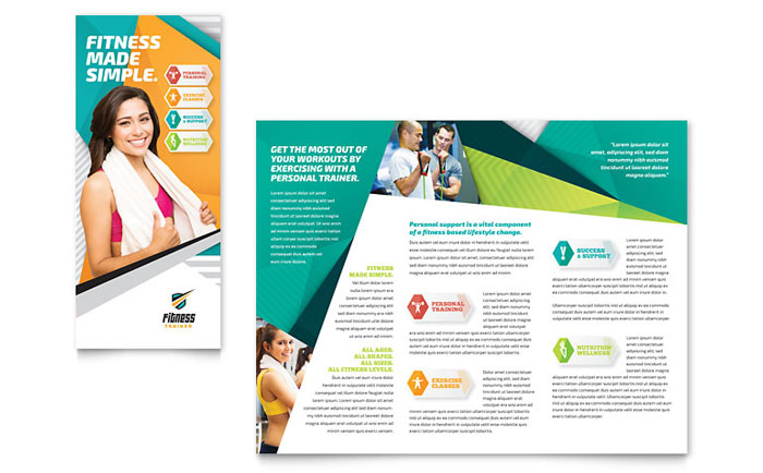 Fitness trainer brochure template design for Health pamphlet template