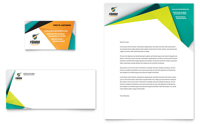fitness trainer business card  u0026 letterhead template design