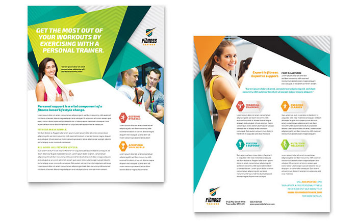 Fitness trainer datasheet template design for Fitness brochure template