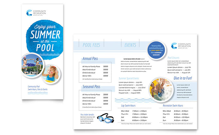 Community swimming pool brochure template design for Pool design templates