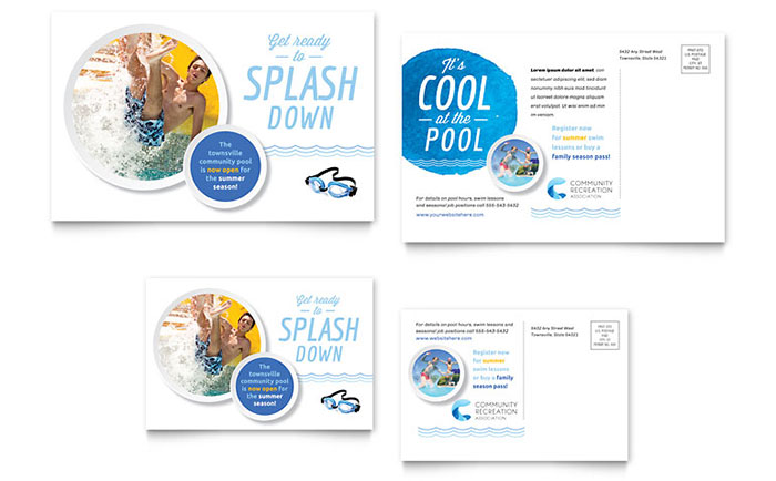 Community swimming pool postcard template design for Pool design templates