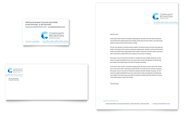 Swimming Pool Service Brochure Design : Community swimming pool business card letterhead
